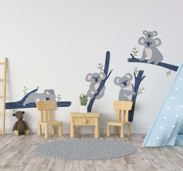 Jungle animal wall sticker with koalas on trees design. An ideal decoration for children bedroom space. It is available in different sizes.