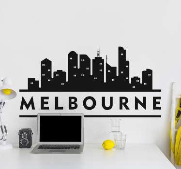 Melbourne City Skyline Wand Tattoo, um eine Wand Ihrer Wahl zu dekorieren. In verschiedenen Farben und Größen erhältlich. Leicht anzubringen und selbstklebend.
