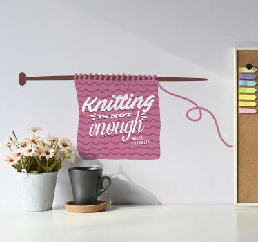 Remind yourself this knitting is never enough, thanks to this fantastic text sticker from Miles Franklin! Available in 50 colours.
