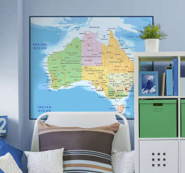 Decorate your home with a fantastic world map wall sticker from us here at Tenstickers, depicting the great country of Australia! Sign up for 10% off.