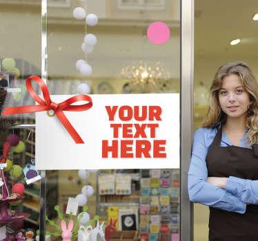 Sticker winkel etiket rood strikje