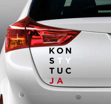 Pragniesz udekorować auto w inny sposób? Nasze naklejki samochodowe z polskim motywem i napisem Konstytucja mogą doskonale ułatwić Ci to zadanie.
