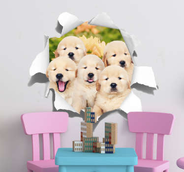 Original visual effect puppies trompe loeil sticker. Available in nay required size and ideal for the decoration of teens and kids room.
