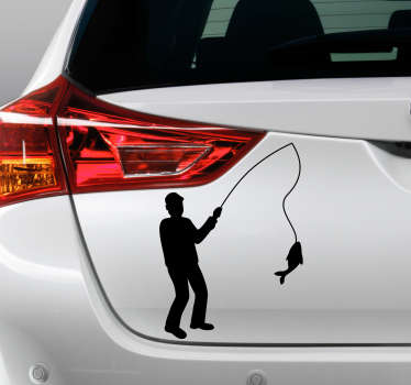 Car vinyl sticker with the design of a fisherman with fish that depict fishing recreational activity. Available in different colours and sizes.