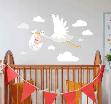 Stork med baby børnehave væg klistermærke