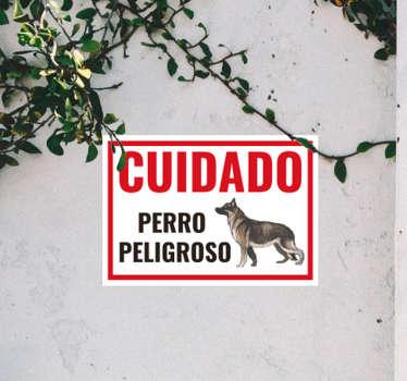 """Original pegatina adhesiva para la entrada de tu hogar formada por el cartel """"CUIDADO Perro Peligroso"""". Atención al Cliente Personalizada."""