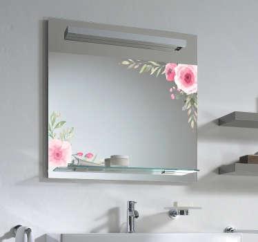 Spiegel sticker roze bloemen spiegelsticker