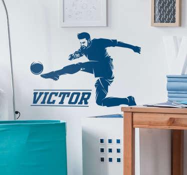 If you're a huge fan of sport, and especially of football, you will love this sports sticker representing a football player in the middle of his move.