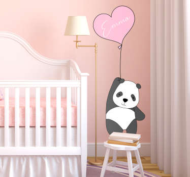Muurdecoratie stickers Panda en ballon met naam