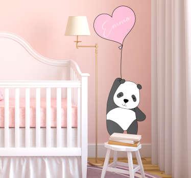 Naklejka z rysunkiem Panda z balonem