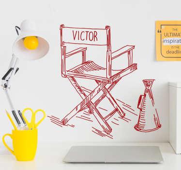 Film yönetmeni sandalye kişiselleştirilmiş etiket
