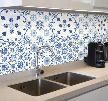 Decorative home wall tile sticker made with delft blue tiles pattern. Easy to apply and waterproof. Choose it in any size