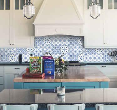 Sticker Floral Carreaux Bleus
