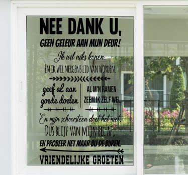 Raamstickers Geen deur verkoop a.u.b.