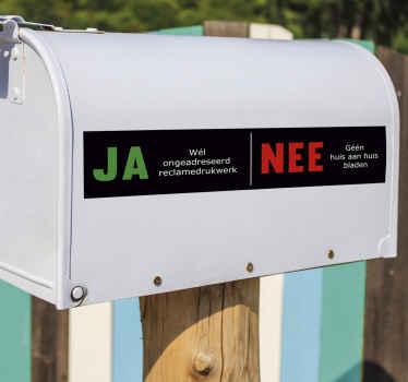 Naklejka z tekstem na skrzynkę pocztową, aby ozdobić jej powierzchnię. Dostępna w dowolnym wymaganym rozmiarze.