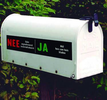 De nee ja postbus sticker is ideaal als u geen verkopers wilit maar wel reclame. JA reclame stickers en Deursticker huis aan huis bladen voor uw deur.