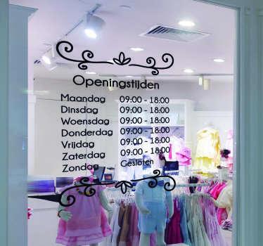 Openingstijden raamstickers voor winkels: Gepersonaliseerde raamsticker openingstijden winkel, winkelopeningstijden raamsticker of winkelruit stickers