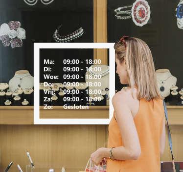 Handige openingstijden raamstickers voor uw kantoor of winkel. Gepersonaliseerde raamsticker openingstijden winkel en winkelopeningstijden raamsticker