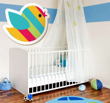 Kids Wall Stickers - Fun and vibrant design of a bird. Ideal for decorating areas for children. Great for the kids´bedrooms and play areas.