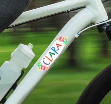 Vinilo flores de bicicleta con nombre