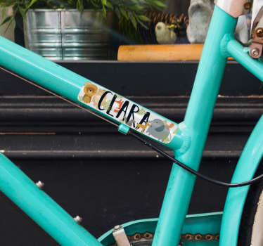 Bike frame decal to decorate the surface of a bicycle with a customisable name. Provide the name required for the deign.