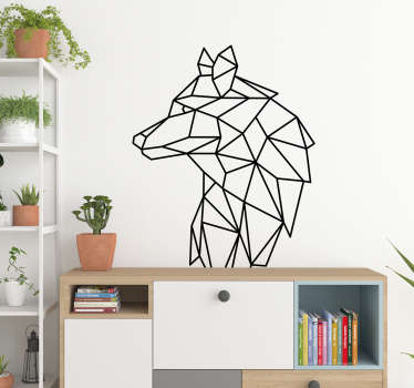 Adesivo murale camera da letto Lupo geometrico