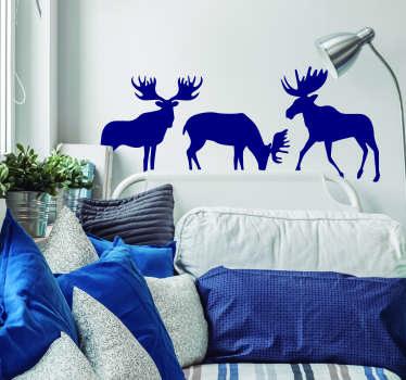 驼鹿设置动物墙贴纸