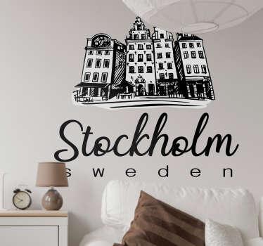 Stockholm byggnader vardagsrum vägg inredning