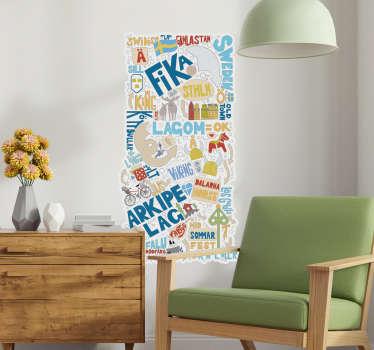 Stokholm sverige text vardagsrum vägg inredning