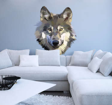 Cool and interesting wolf wall sticker for in the living room. This wall sticker wolf can be adjusted into many different styles and different sizes.