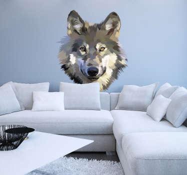 Muurstickers slaapkamer Vintage wolf
