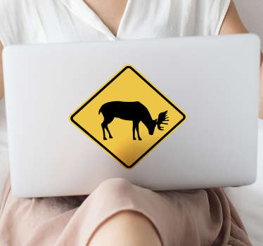 Danger elk board laptop sticker