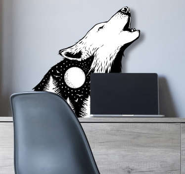 Wild animal wall sticker with the design of a howling wolf.  A black and white colour design ideal for any space of desire. Easy to apply.