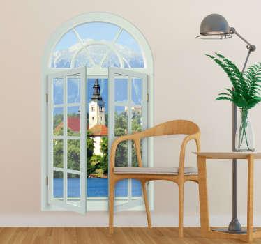 Muurstickers woonkamer Vensterraam met uitzicht