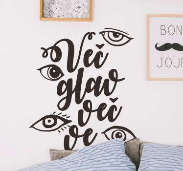 Oči besedilo nalepka dnevna soba steno dekor