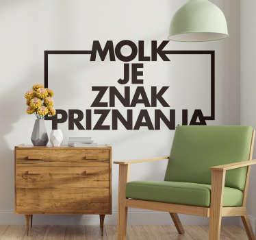 Ta besedilna nalepka je idealna za dnevno sobo. Stenska nalepka slovensko besedilo je narejeno iz vinilne nalepke. Dnevne nalepke v vseh velikostih