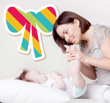 A colourful striped bow sticker to decorate your child´s room. Decorate their room with this wonderful decal and make them smile.