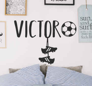 Personalisable name sport wall sticker with the design of football boot. Can be chosen in any size. Just provide a required name for the design.