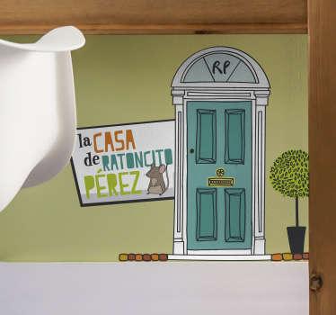Original pegatina para habitación infantil formada por el dibujo de la puerta de la casa del Ratoncito Pérez. Precios imbatibles.