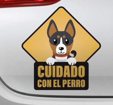 """Pegatina señalética para vehículo formada por el dibujo de un perro y el texto """"Cuidado con el perro"""". Envío Express en 24/48h."""