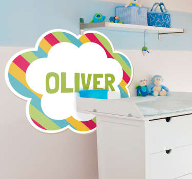An original , customisable comic cloud with colourful stripes. Decorate your kid's room with this decal and make their playtime more enjoyable.