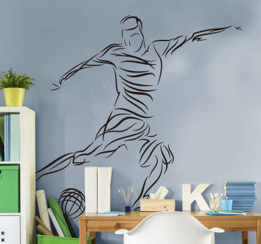 Decorative abstract football player wall sticker. Available in different colours and sizes. Easy to apply and highly durable.