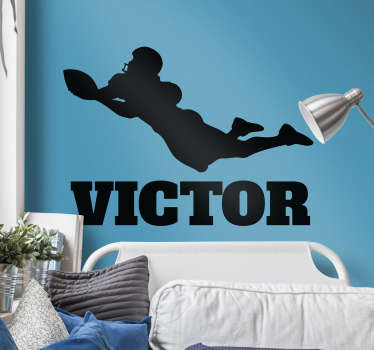 Decorate your home with this fantastic customisable sports sticker, depicting an American footballer scoring a touchdown!