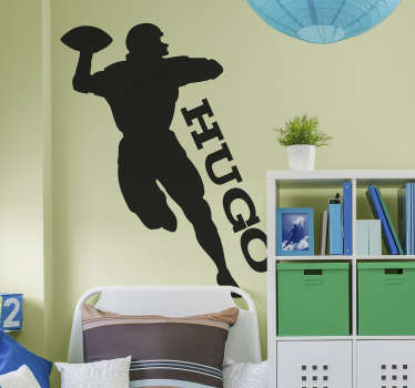 An american football player wall sticker with customisable name. Provide any desired name for the design. Available in different colours and sizes.