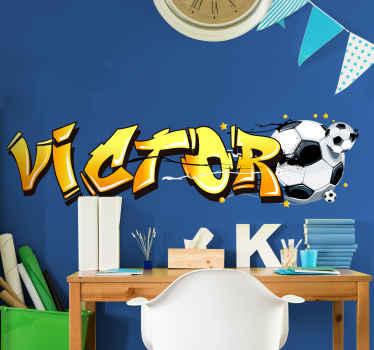Muurstickers kinderkamer 3d naamsticker voetbal