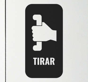 """Pegatina para puerta con la señalización y el texto """"tirar"""" para indicar la dirección en la que se debe abrir la puerta. Fácil de colocar ¡Envío a domicilio!"""