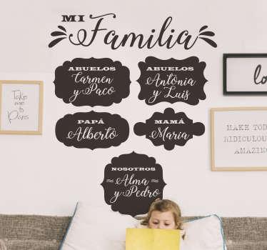 Vinilo pared personalizable con los nombres de la familia, desde los abuelos hasta los hijos, para reforzar la unión ¡Envío gratuito!