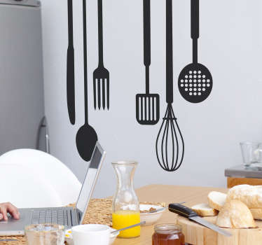 If you are the type of person who loves spending time in the kitchen, you will love this kitchen decal representing several cooking tools.