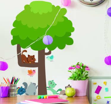 Vinilo pared árbol y cuatro gatos