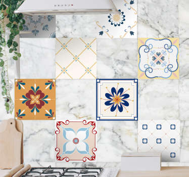 Decorative colorful patterned tile decal for home wall space. Ideal for a kitchen and any other space. Easy to apply and waterproof.